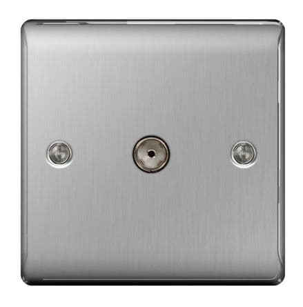 BG Brushed Steel Co-Axial Socket - 1 Gang